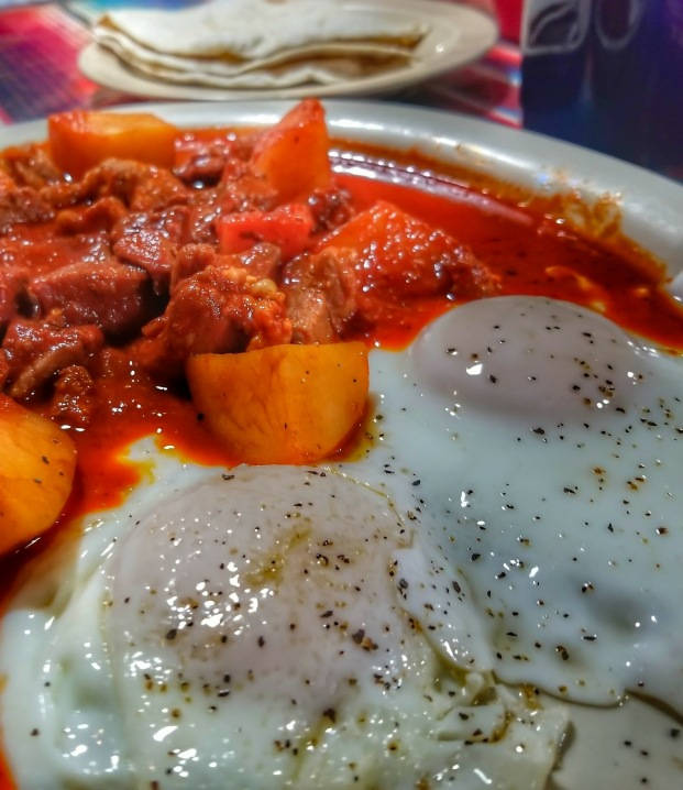 Red Chile Colorado with eggs